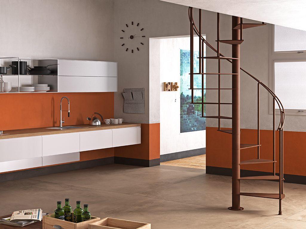 Alzata Massima Scala Interna scale a chiocciola pianta tonda e quadra di design