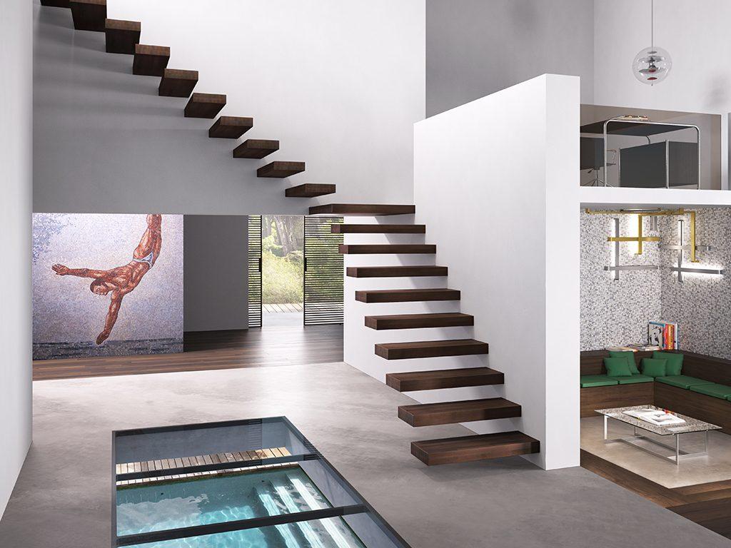Scale Sospese Per Interni.Gradini In Kit Wall Stile Design E Funzionalita